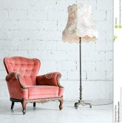 Desk Chair Fabric Burgundy Covers Wedding Armchair With Lamp In Vintage Room Stock Images - Image: 26229504