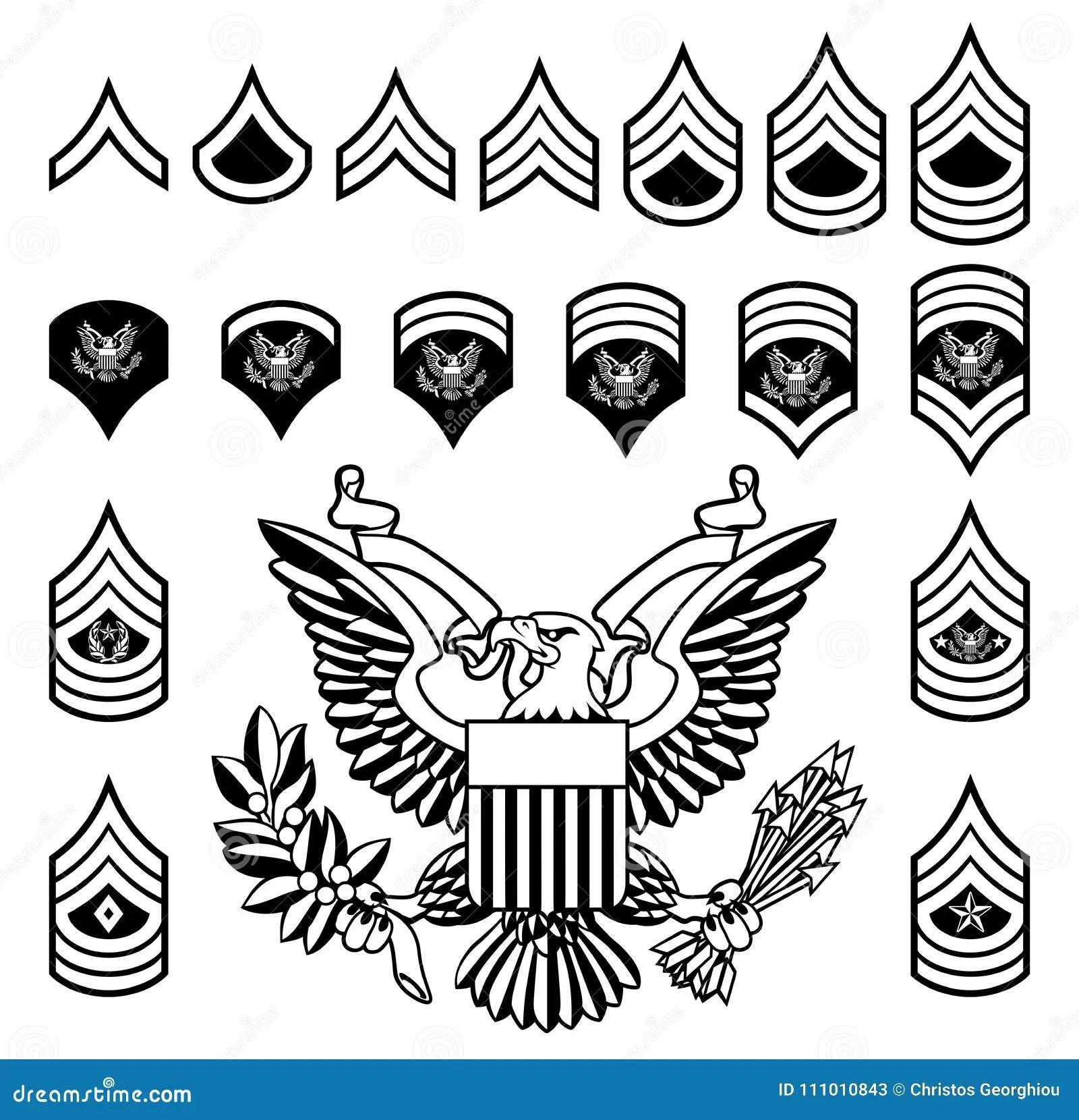 Armee-Militärrang-Insignien Vektor Abbildung