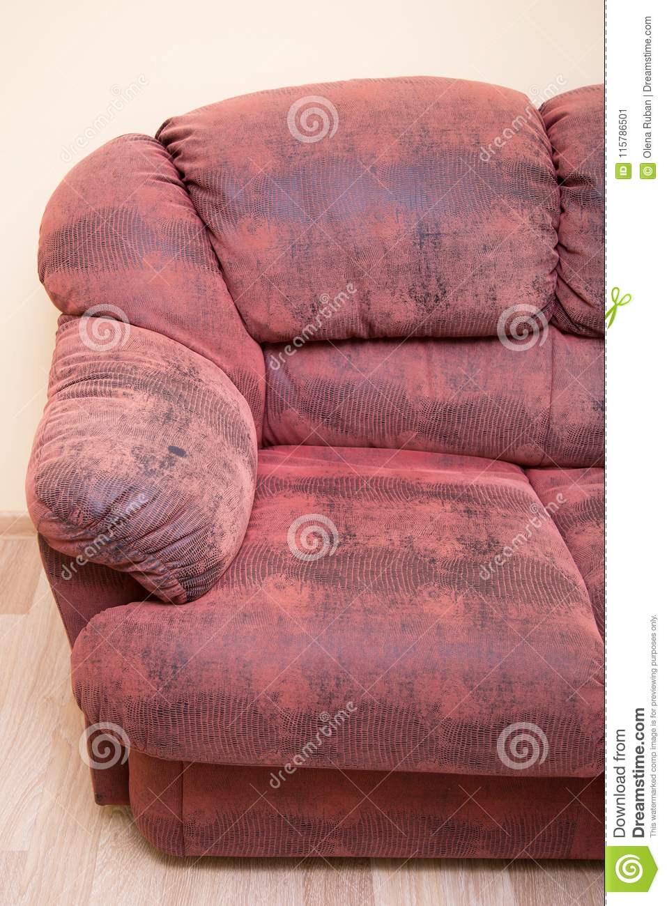 leather red sofa two person dimensions armrest of stock image amrest color 115786501 picture half couch soft place for rest