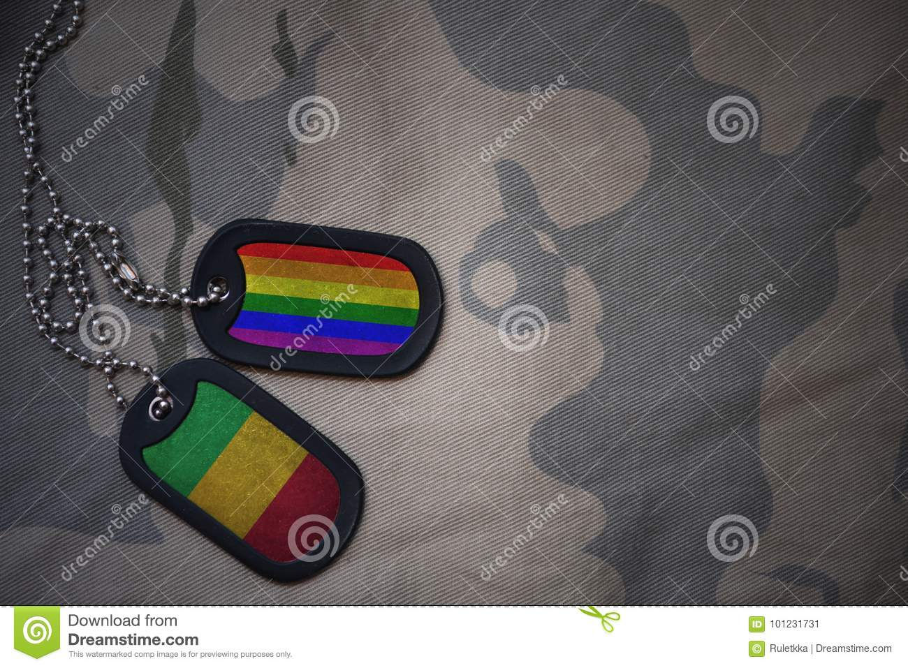 hight resolution of army blank dog tag with flag of mali and gay rainbow flag on the khaki