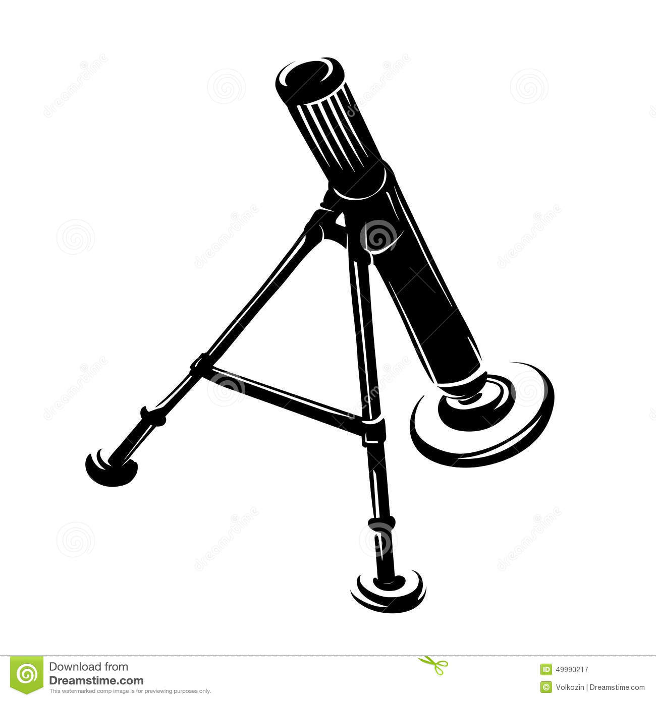 Army Mortar In A Symbolic Style On White Background Stock