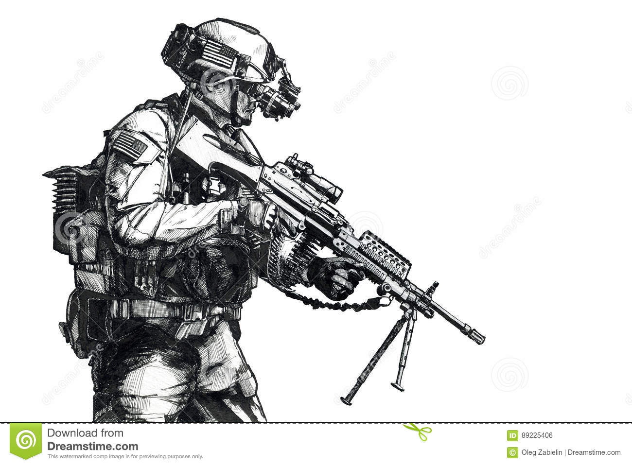 Army Ranger Hand Drawn Picture Stock Illustration