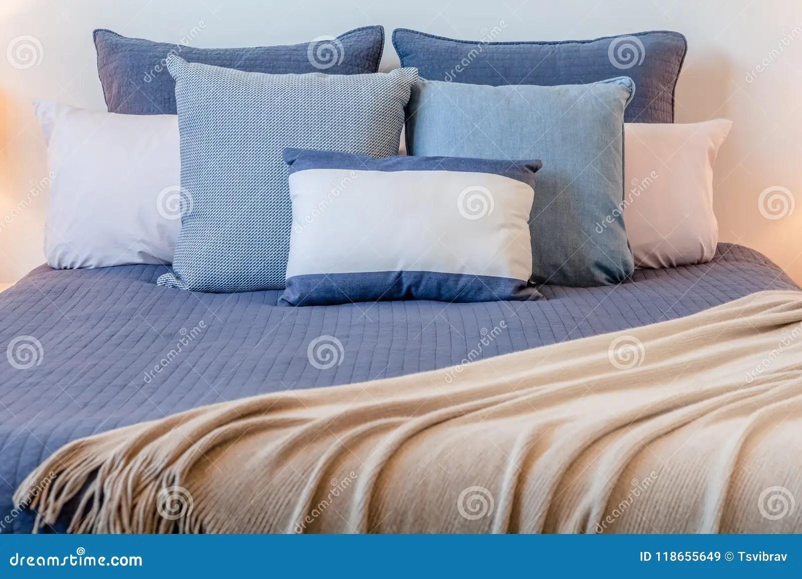 https www dreamstime com arrangement pillows bed bedroom beautiful arrangement pillows bed bedroom copy space image118655649