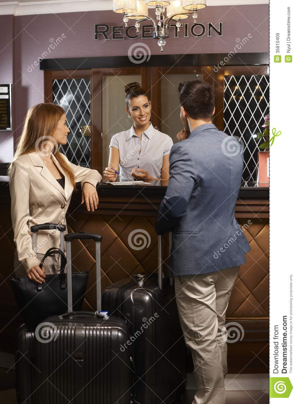 Arriving At Hotel Reception Royalty Free Stock Images