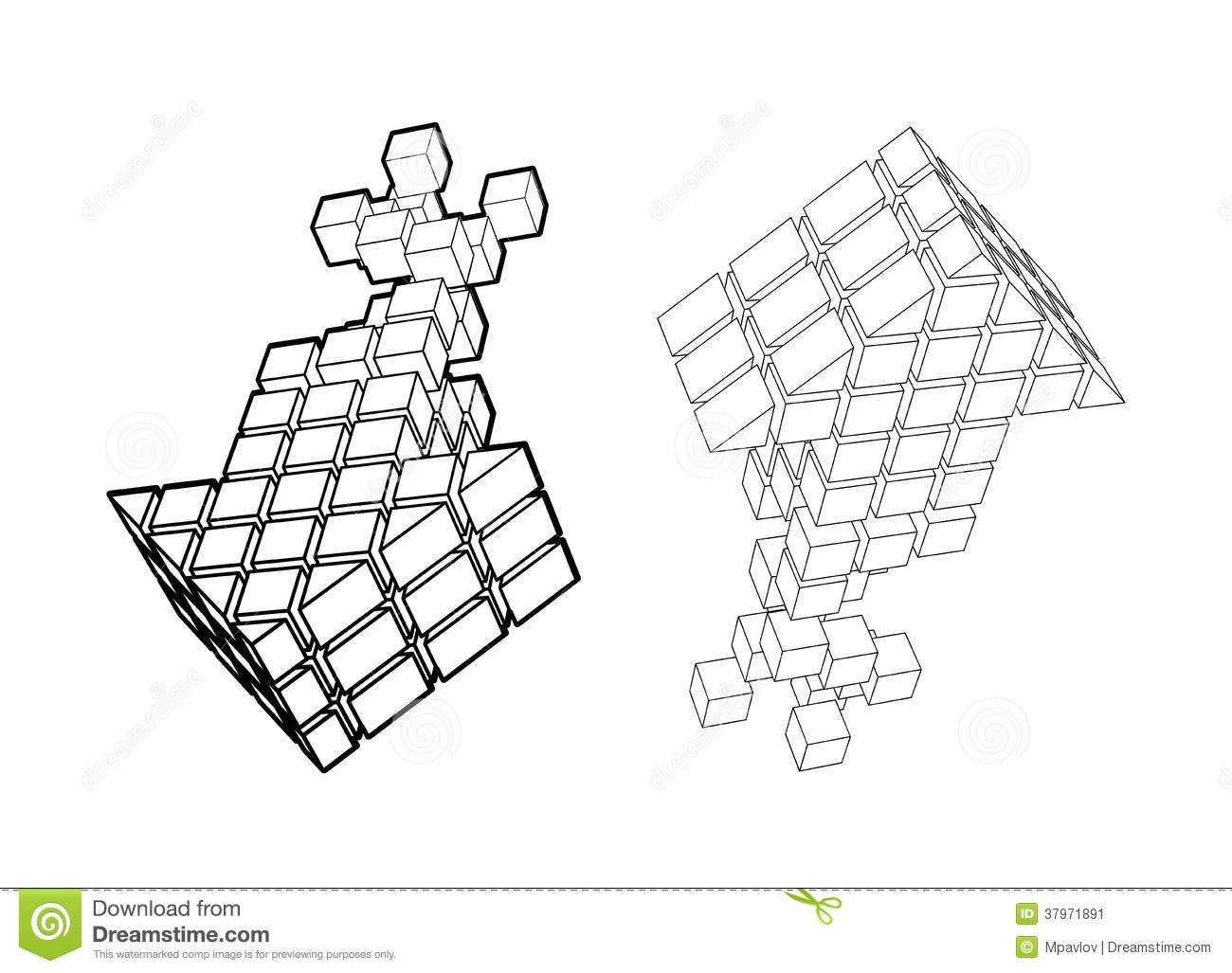 Arrow icon made of cubes stock vector. Illustration of