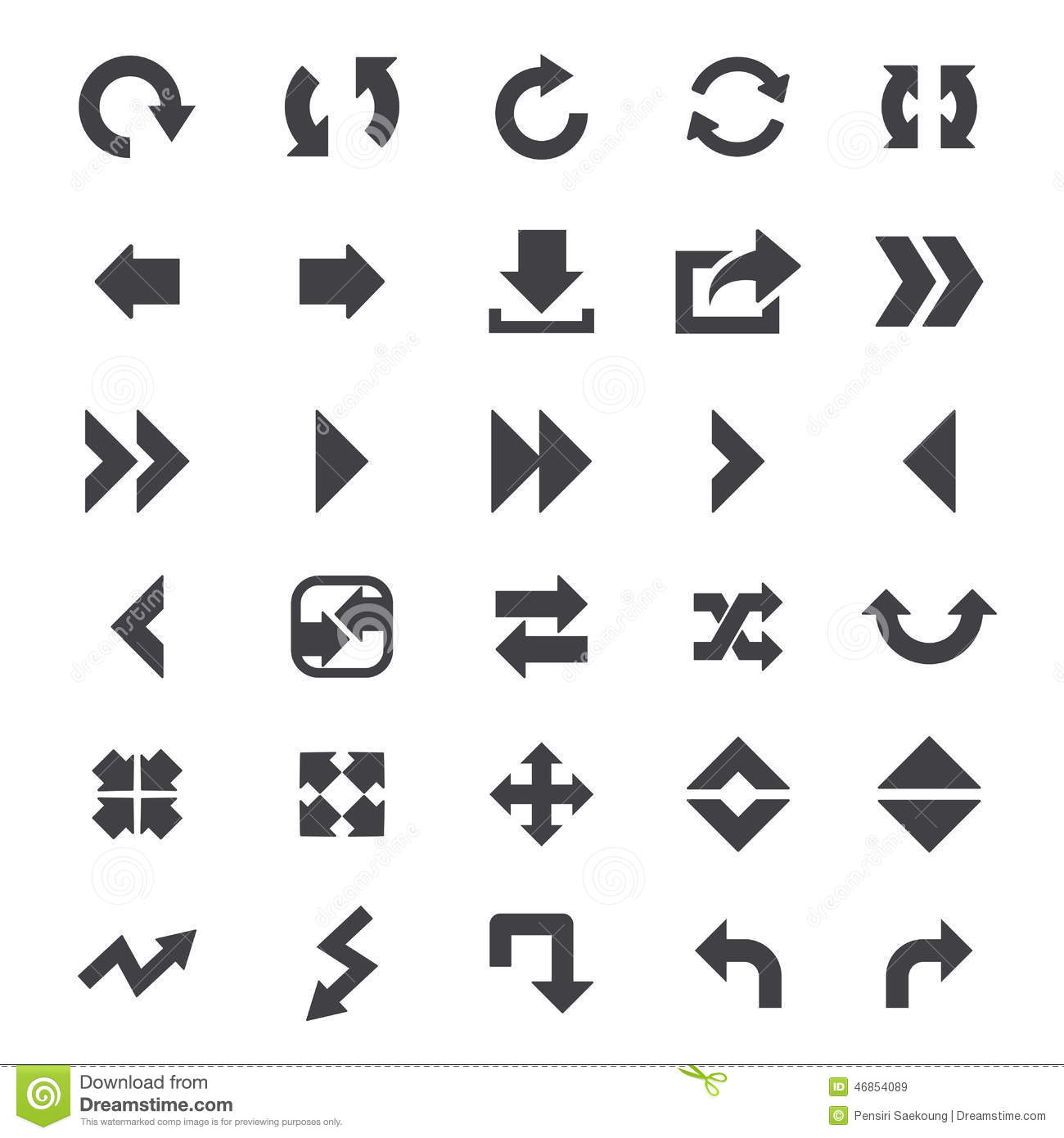 Arrow Icon Set Stock Vector Illustration Of Chart Move