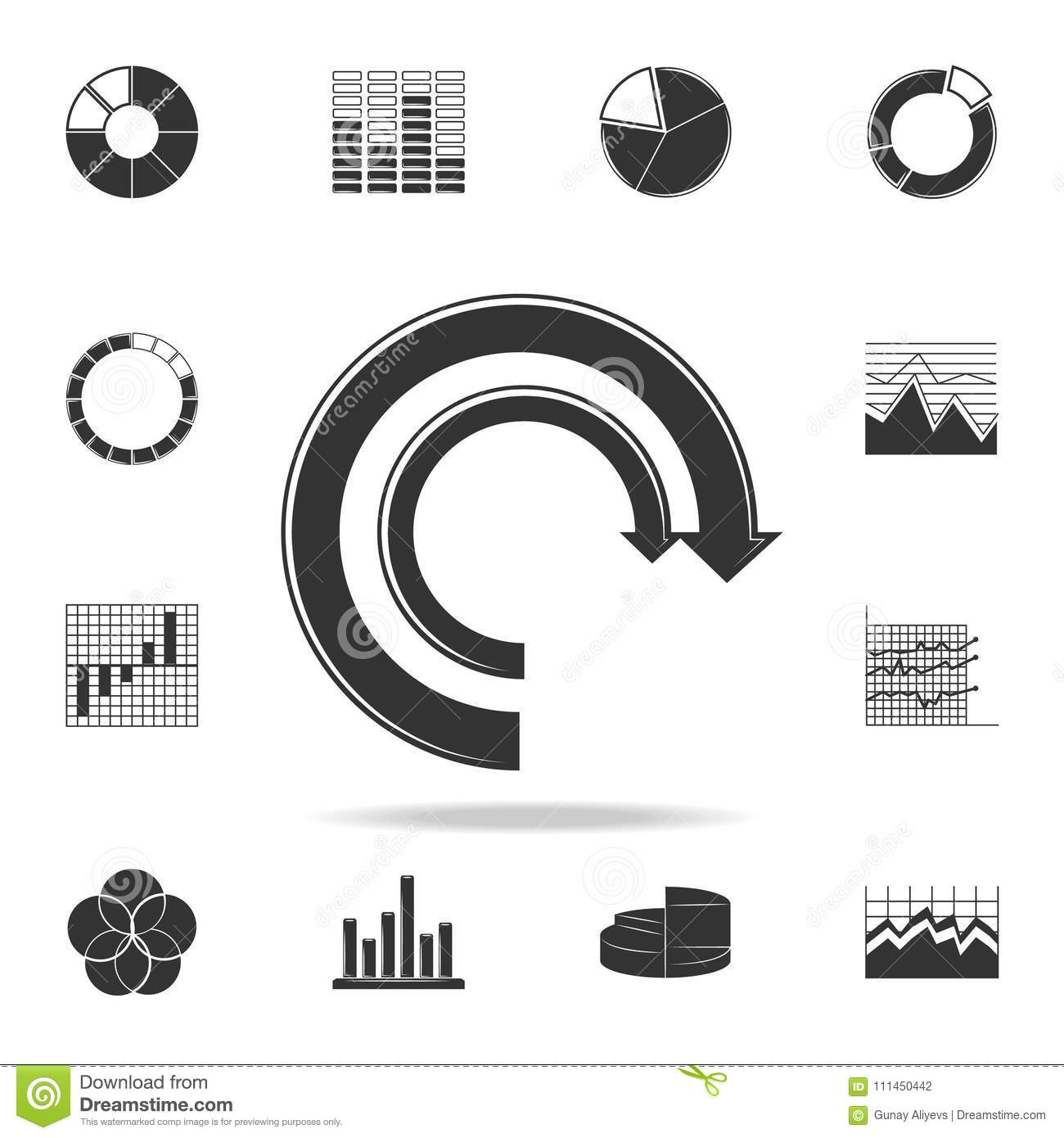 Arrow Pie Chart Icon Detailed Set Of Trend Diagram And