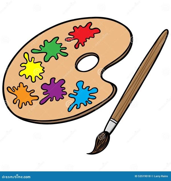 Art Brush And Palette Stock Vector. Illustration Of