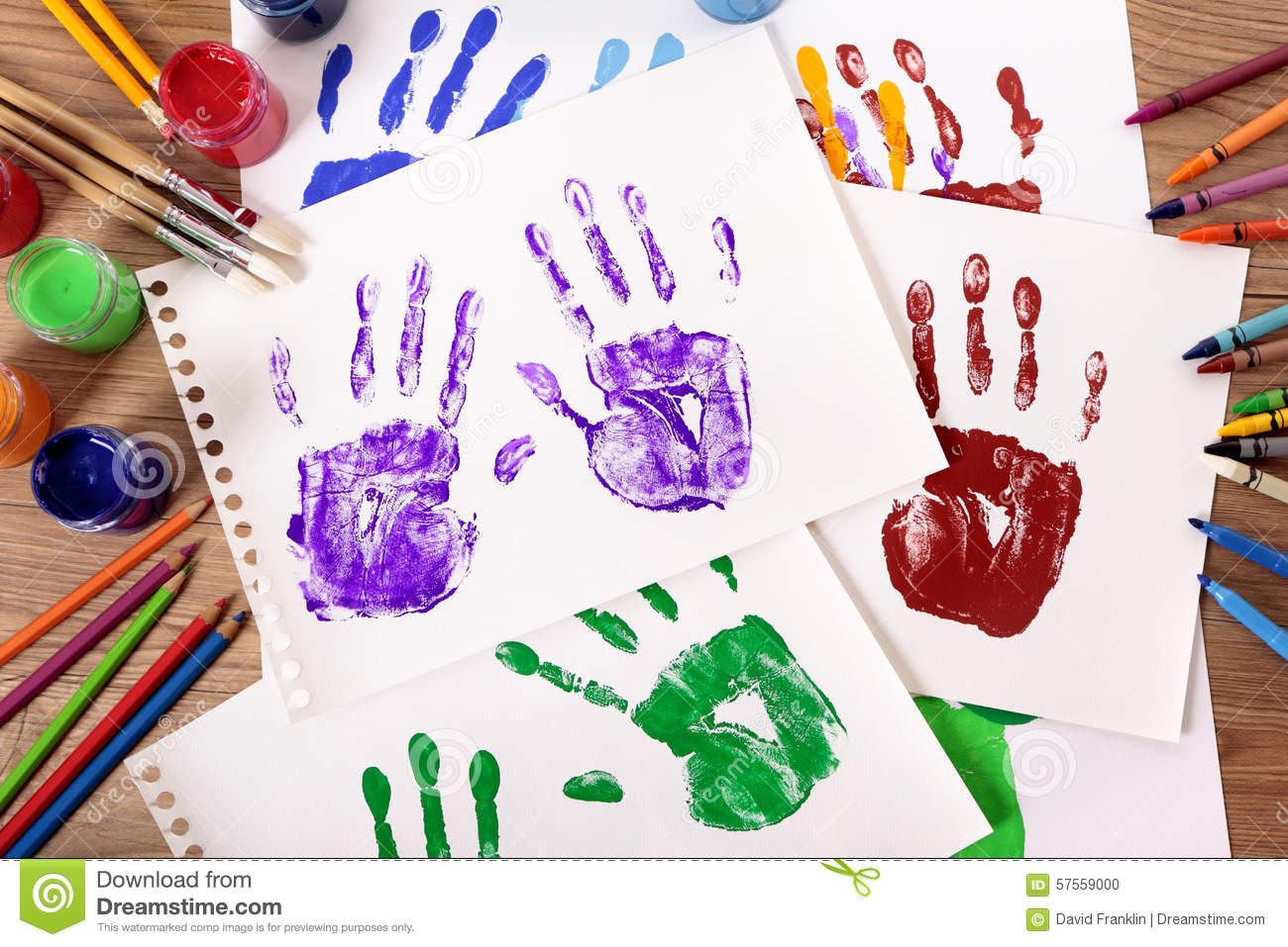 Art And Craft Class Child Hand Prints And Art Supplies On School Desk Stock Photo Image Of Concept Page 57559000