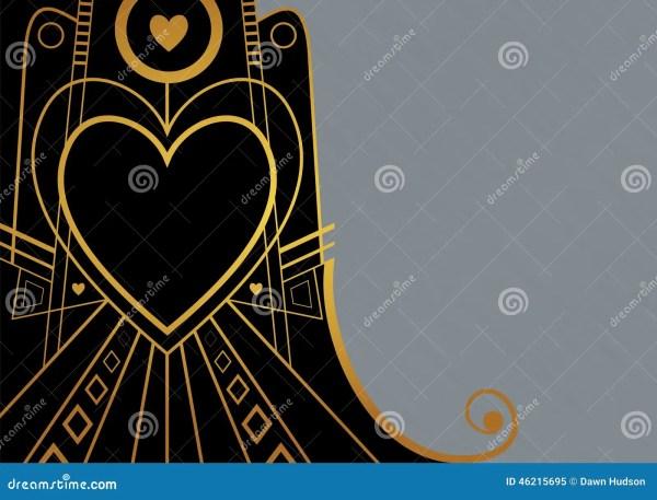 Art Deco Heart Border Stock Illustration Image 46215695
