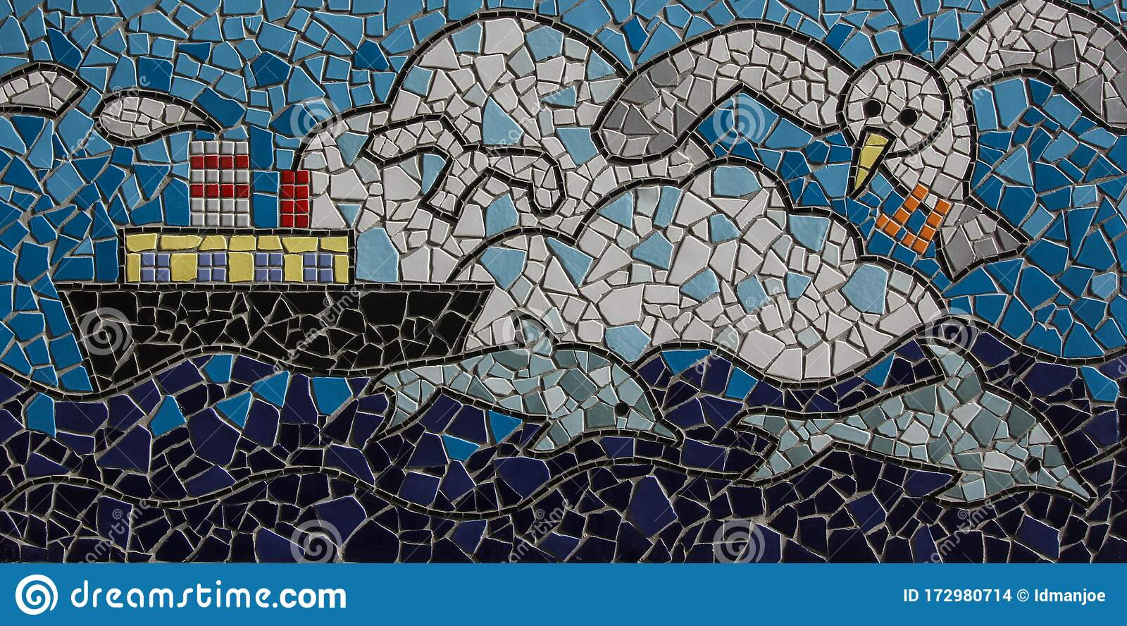 https www dreamstime com art mosaic tile kobe japan november port one japanese maritime backgrounded hanshin industrial region image172980714