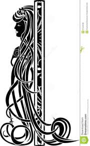 art nouveau girl with long hair