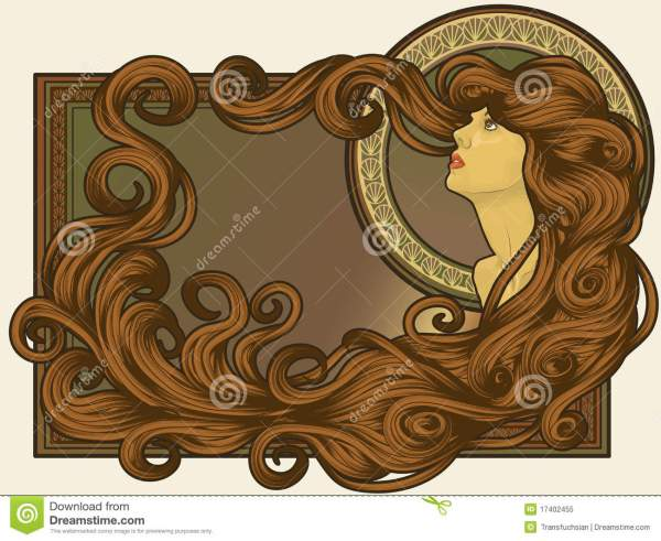 Art Nouveau Styled Woman' Face With Long Hair Stock