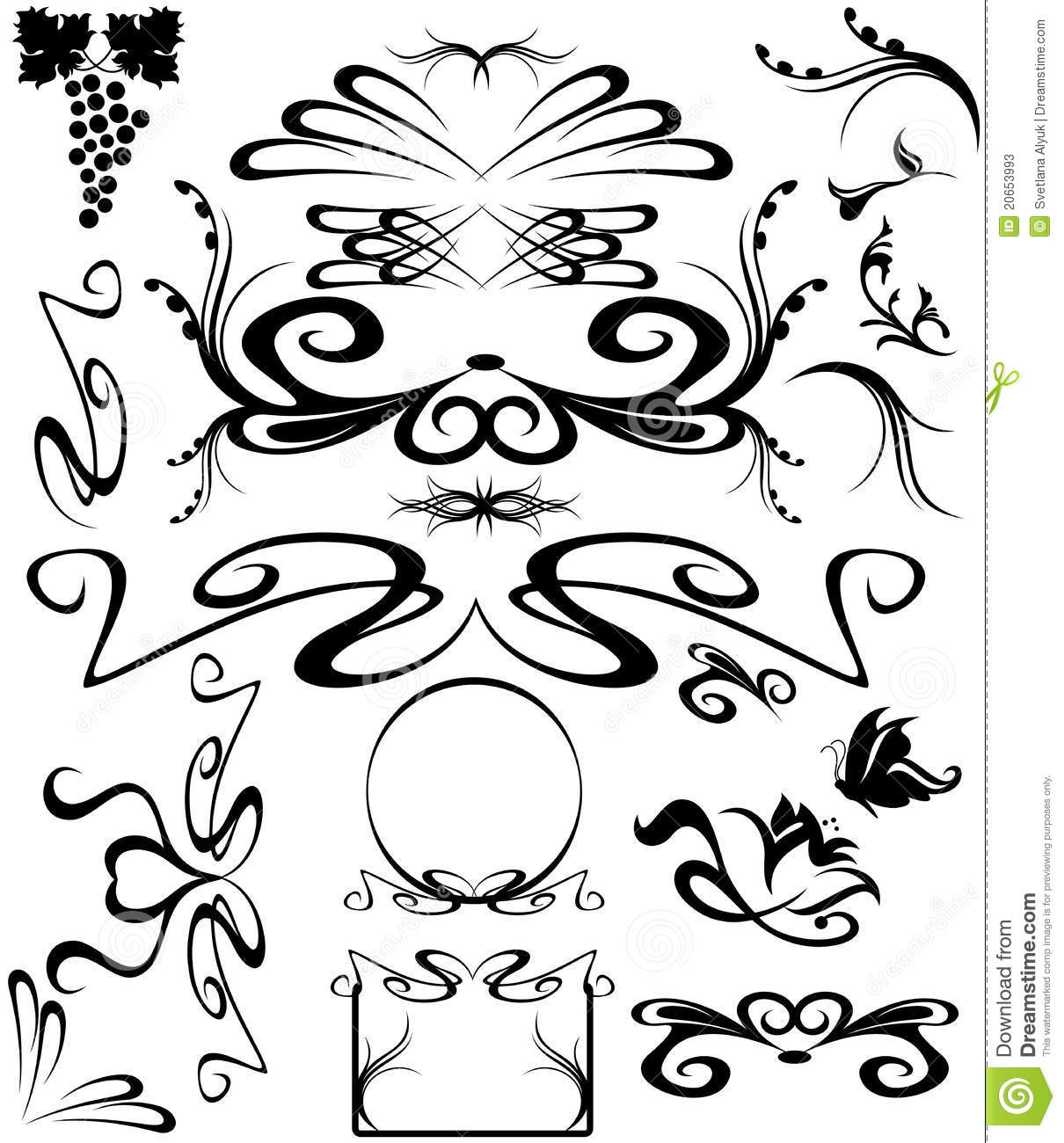 Art Nouveau vector stock vector. Image of isolated, frame