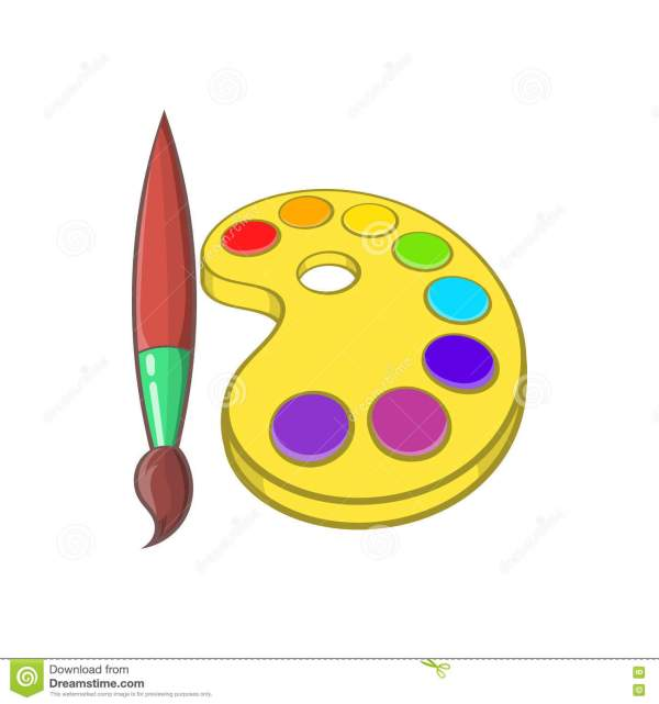 Art Palette With Paints And Brush Icon Vector Illustration