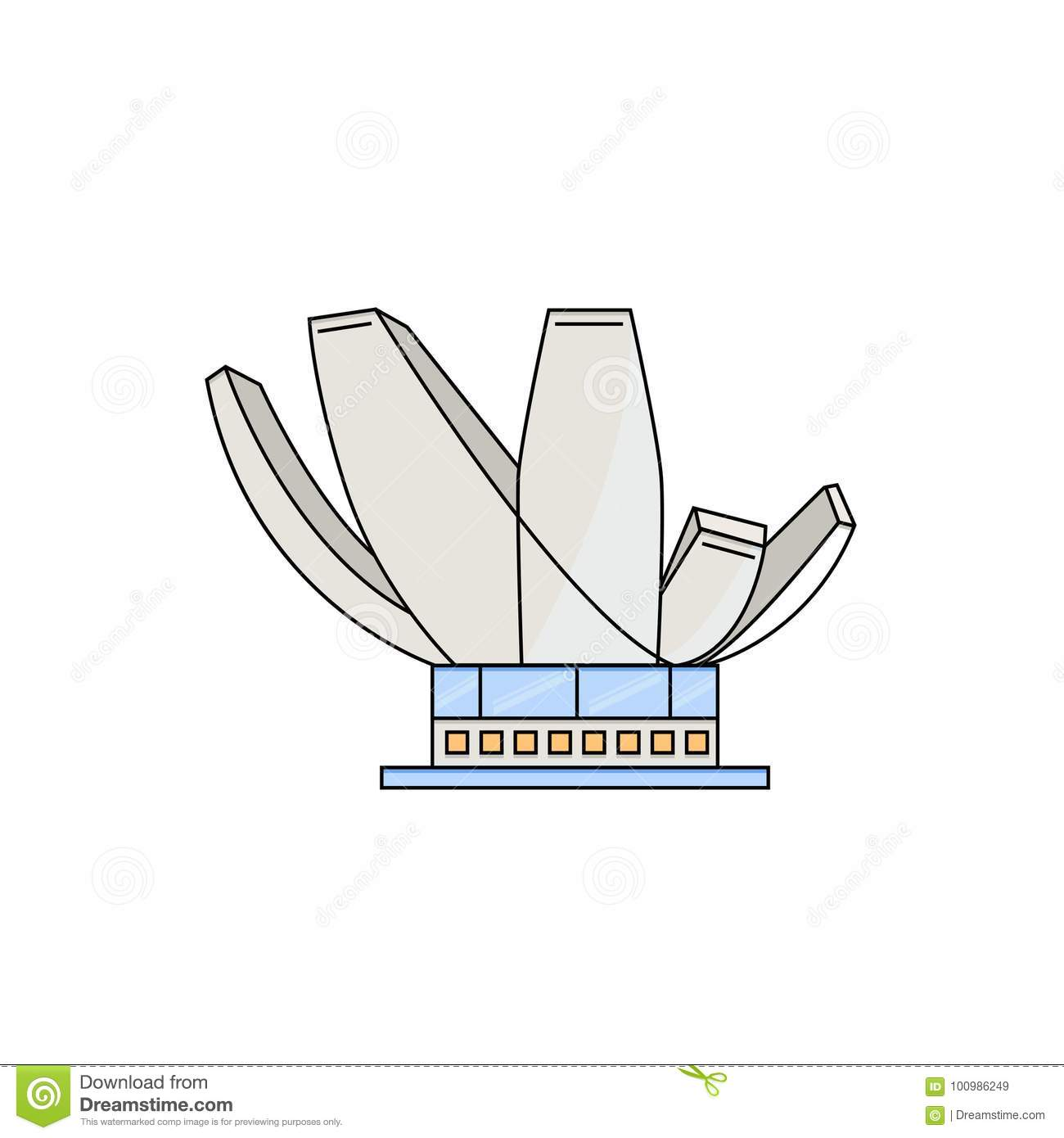 Art And Science Museum In Singapore Stock Vector