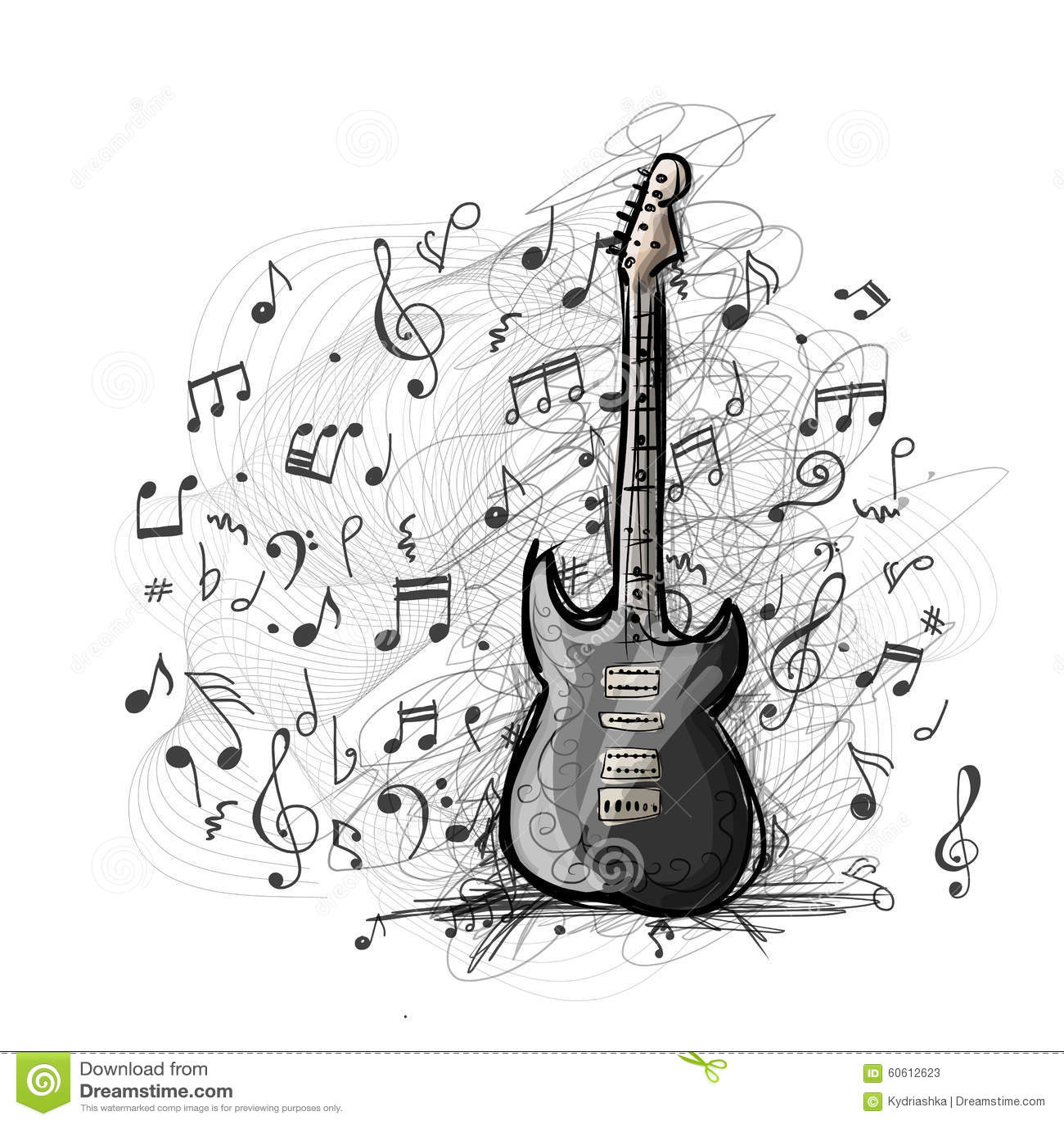 Art Sketch Of Guitar Design Stock Vector