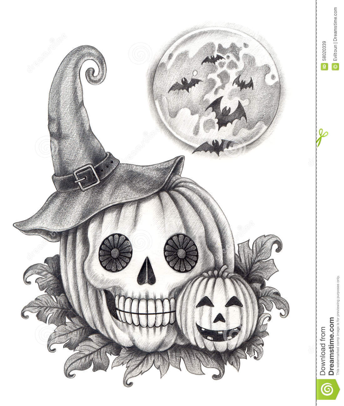 Art Skull Pumpkin Halloween Day Stock Illustration