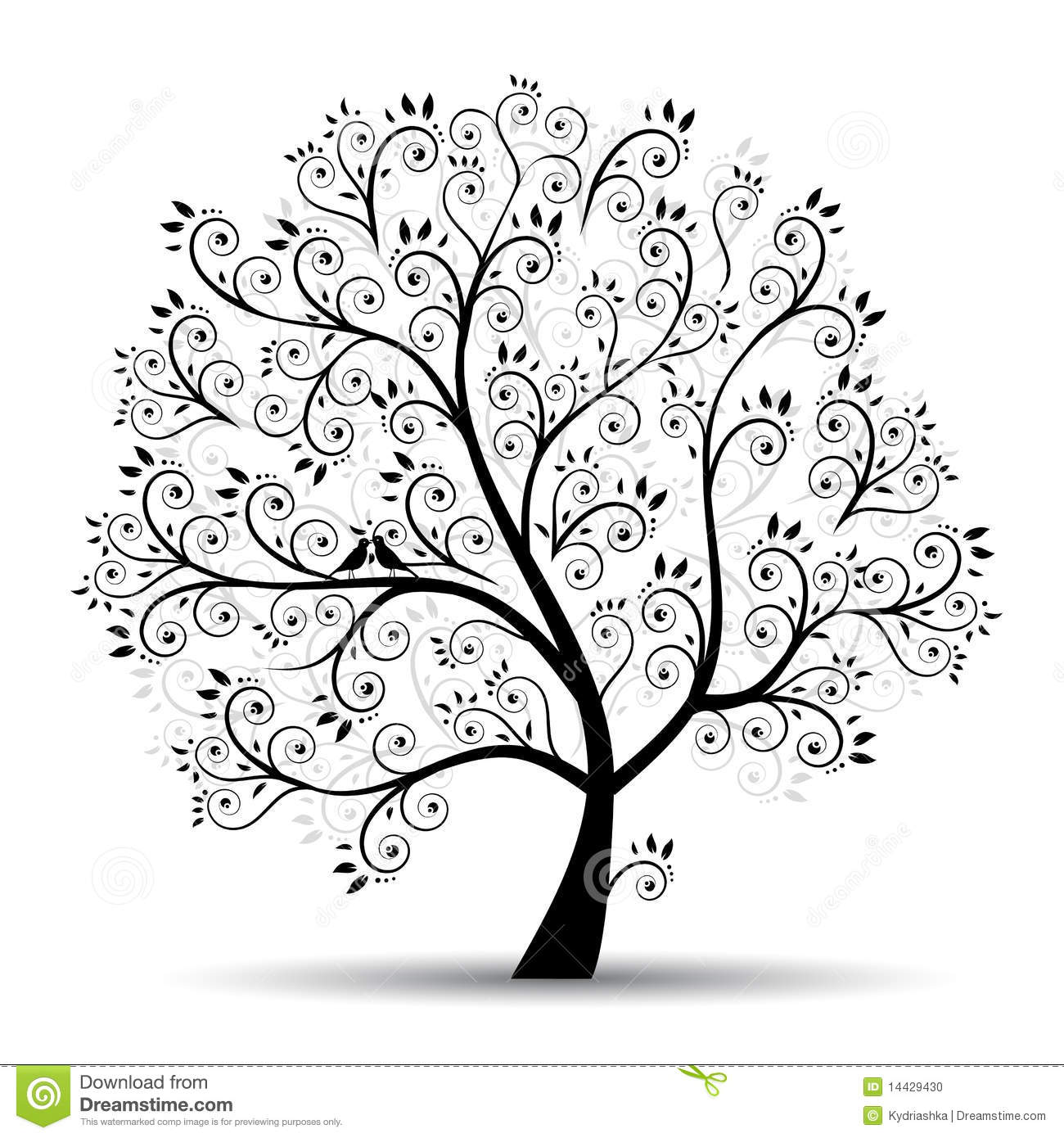 Art Tree Beautiful Black Silhouette Stock Vector