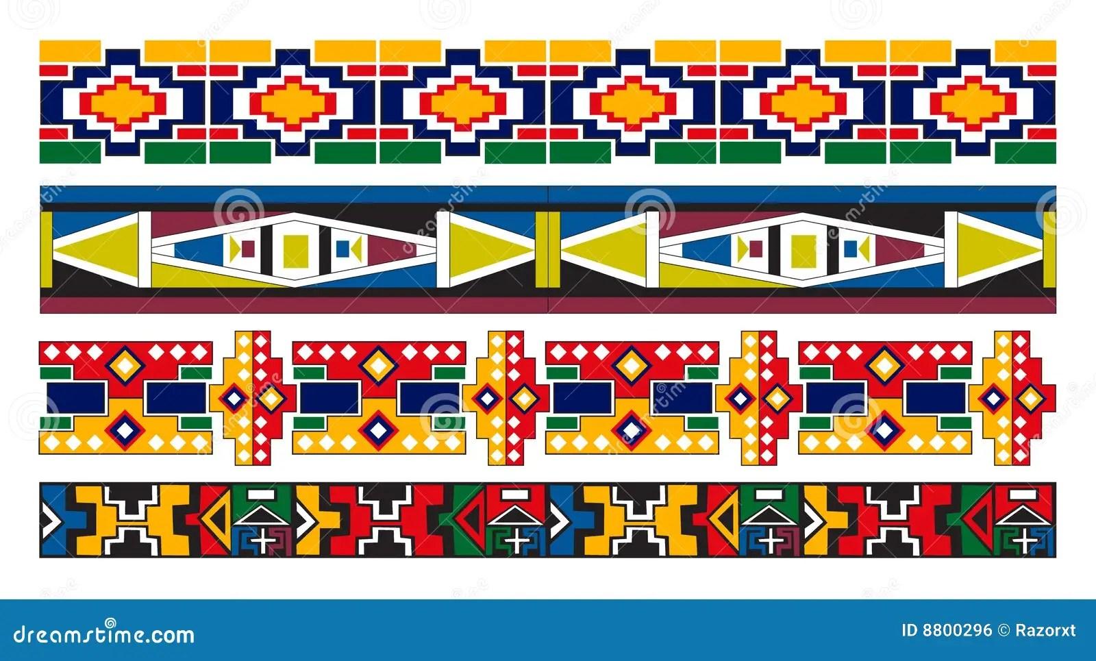 Arte Africana Do Teste Padrao Da Beira De Ndebele Ilustracao Do Vetor