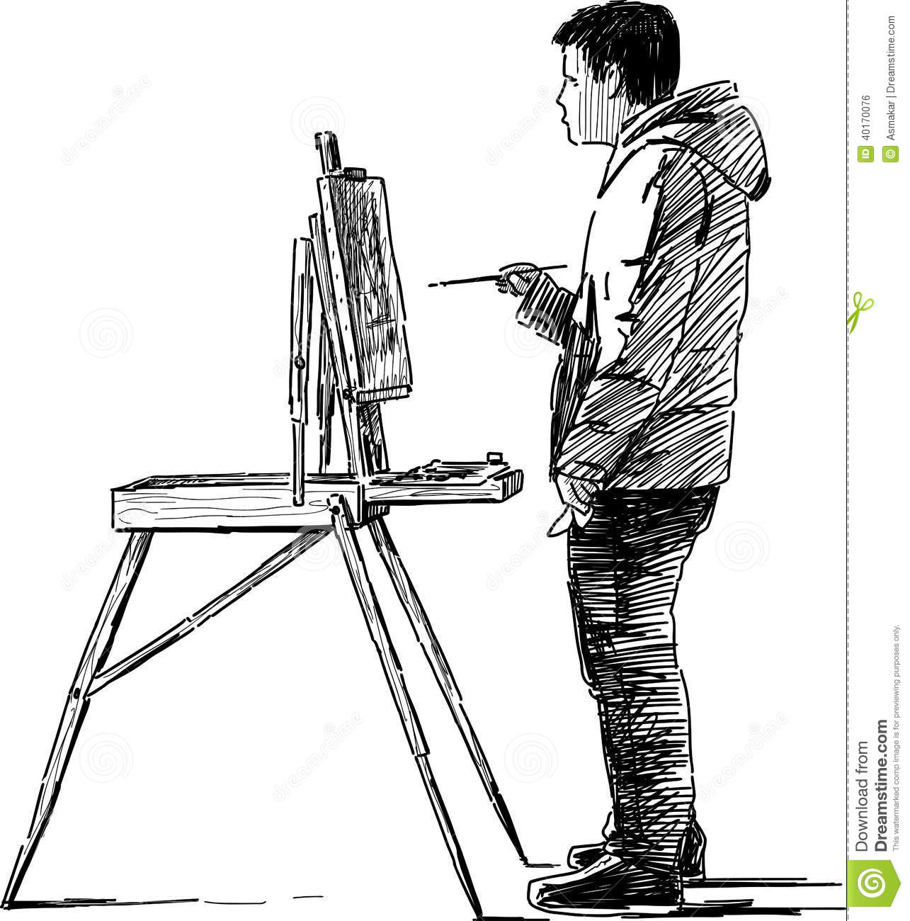 Artist Making Sketches Stock Vector