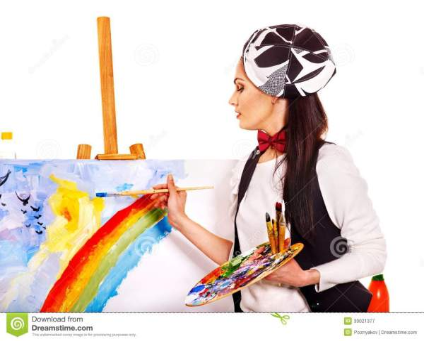 Female Artist Work. Royalty Free Stock