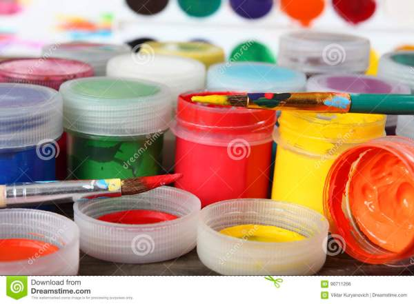 Color Paint Cans Close Royalty-free Stock #93065483