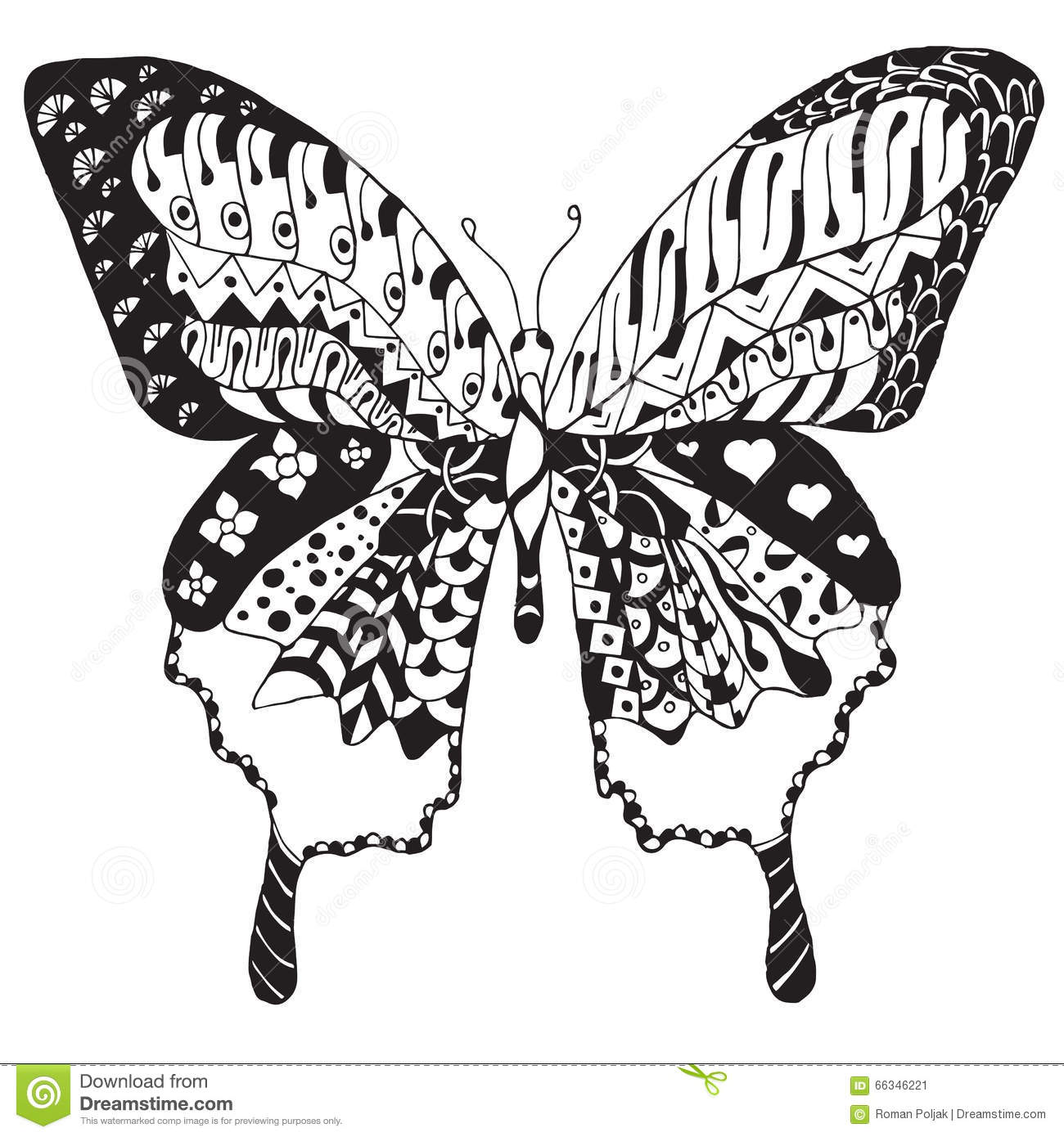 Artistically Hand Drawn Zentangle Stylized Butterfly