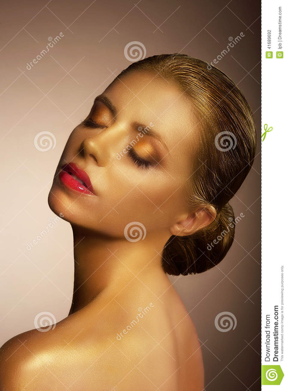 Artistry Fanciful Bronzed Womans Face Futuristic Art