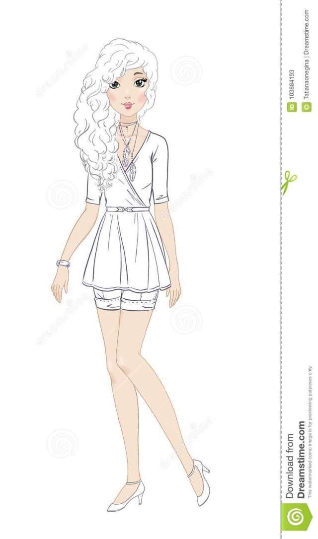 Fashionable Teen Girl in Beautiful Casual Outfit Coloring Page