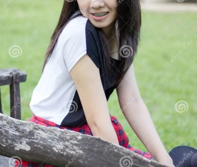 Asia Woman Thai Teen Relax On Park Happy