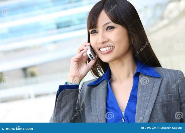 Asian Business Woman Phone Stock