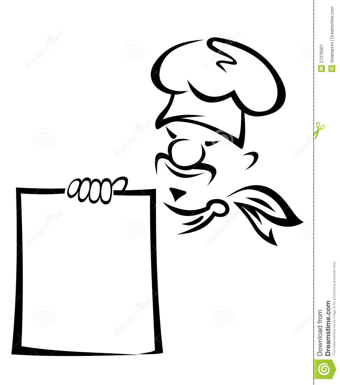 Asian chef with blank menu stock vector. Illustration of