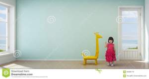 wall empty beach modern background child turquoise asian interior