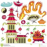 Asian Design Elements Vector Illustration | CartoonDealer ...