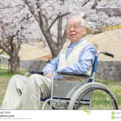 Wheelchair Japan Adirondack Chair Footstool Plans Asian Senior Man Sitting On A Stock Image