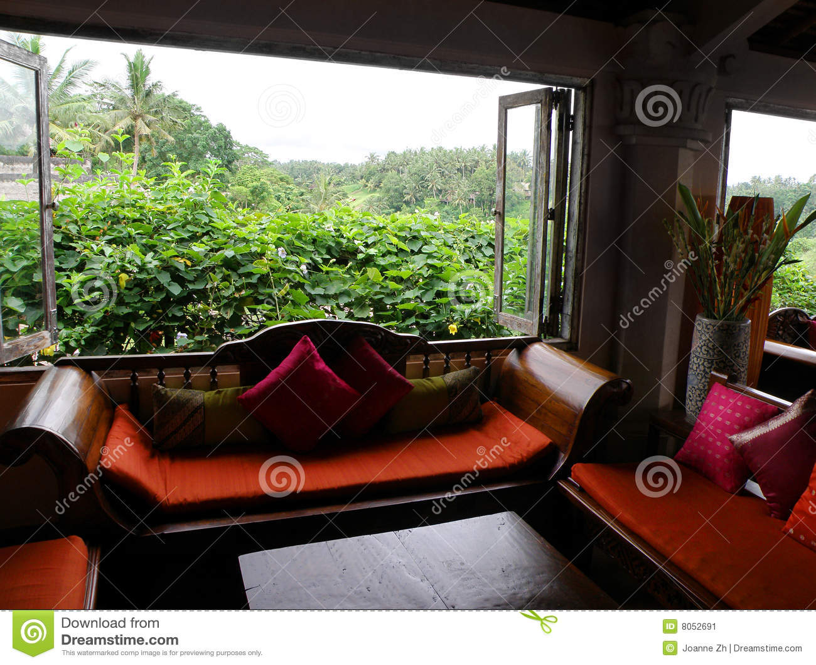 Asian Style Furnished Sitting Room Stock Image  Image 8052691