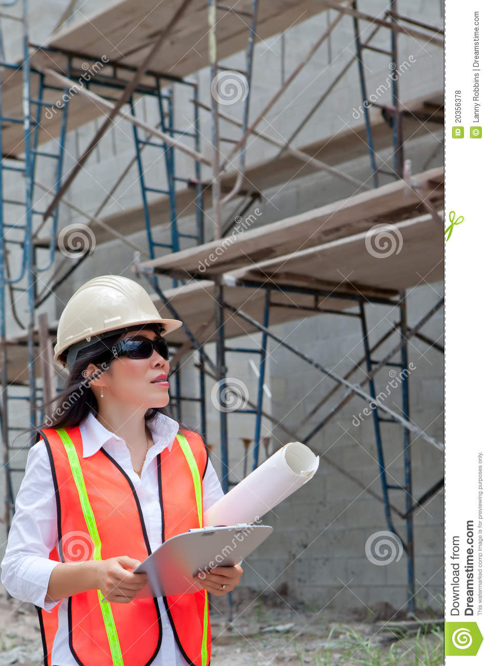Asian Woman Inspector On Construction Site Royalty Free
