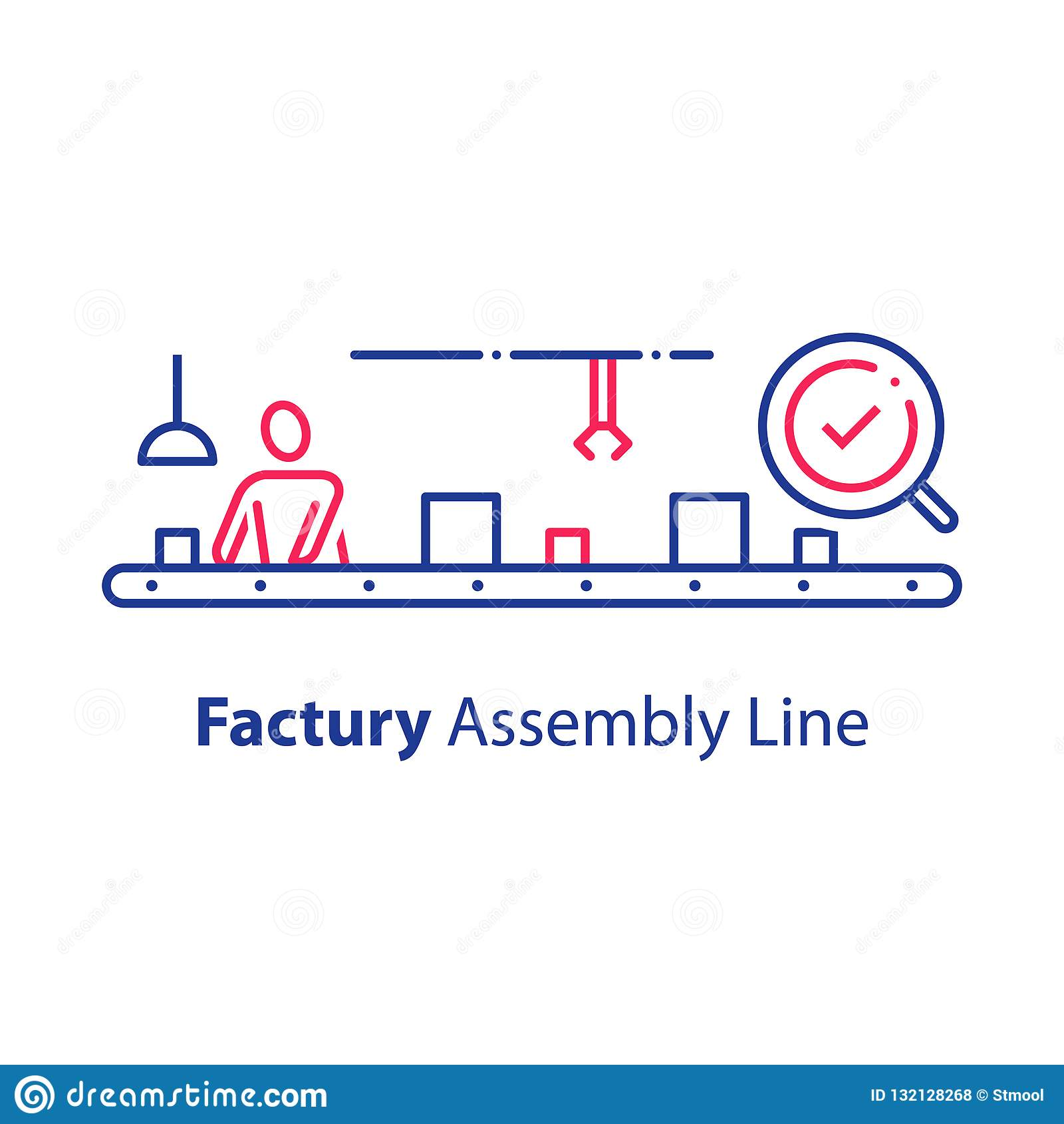 Manual Worker At Conveyor Assembly Line Production