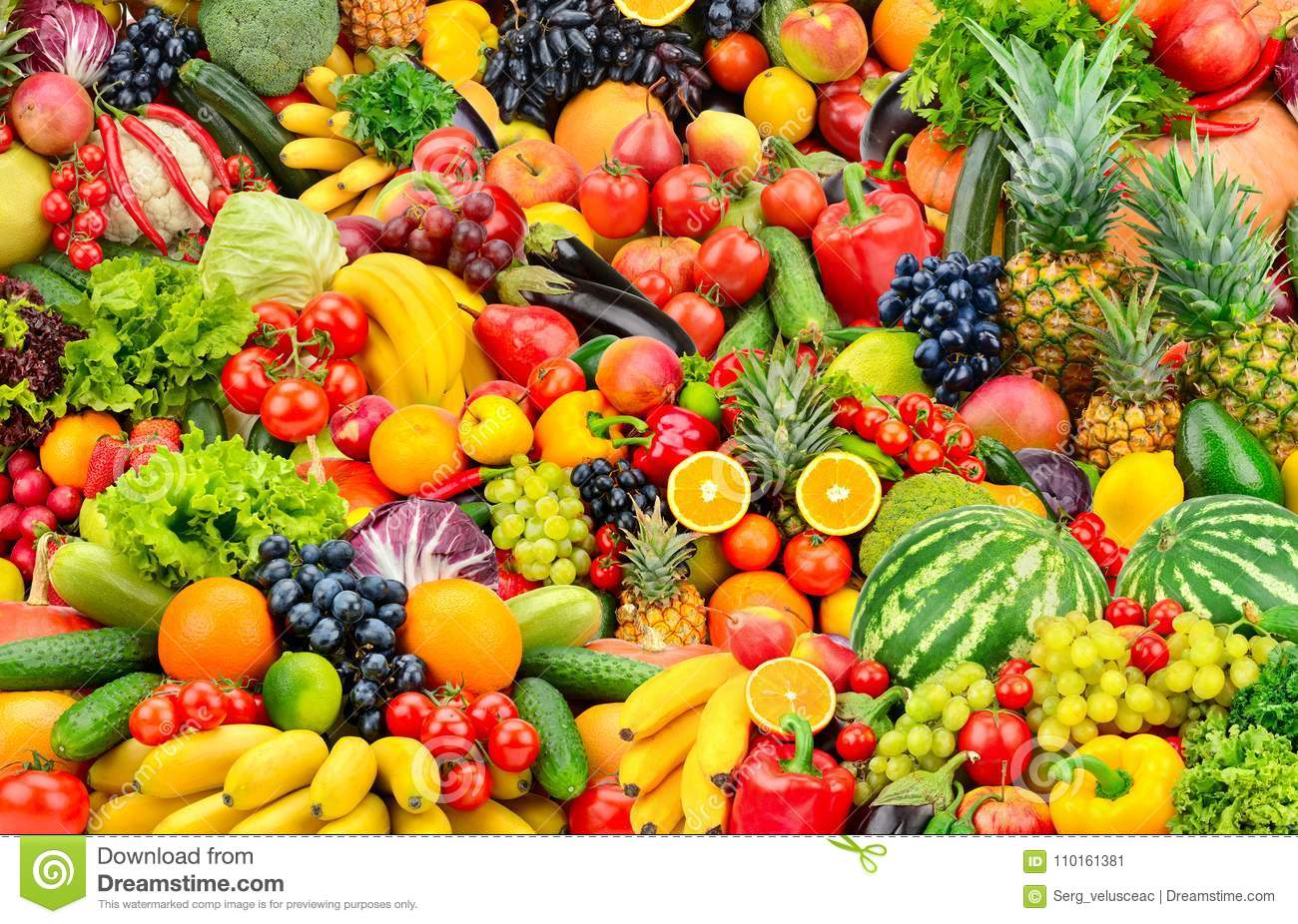 Assorted Fresh Ripe Fruits And Vegetables Food Concept