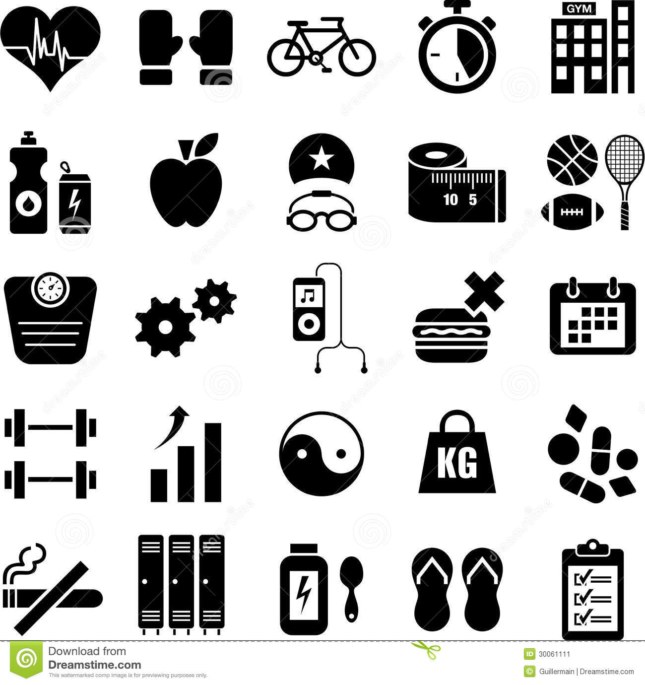 Health And Fitness Icons Stock Vector Illustration Of