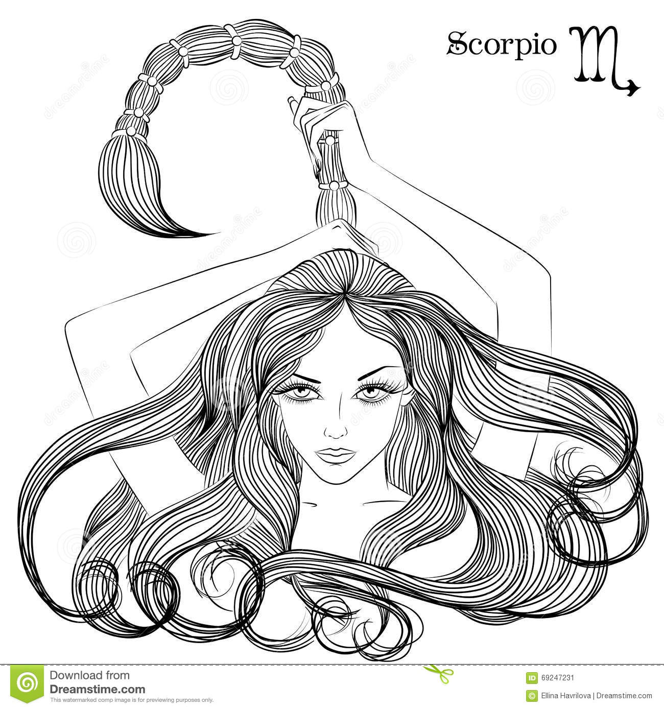 Astrological Sign Of Scorpio As A Beautiful Girl Stock