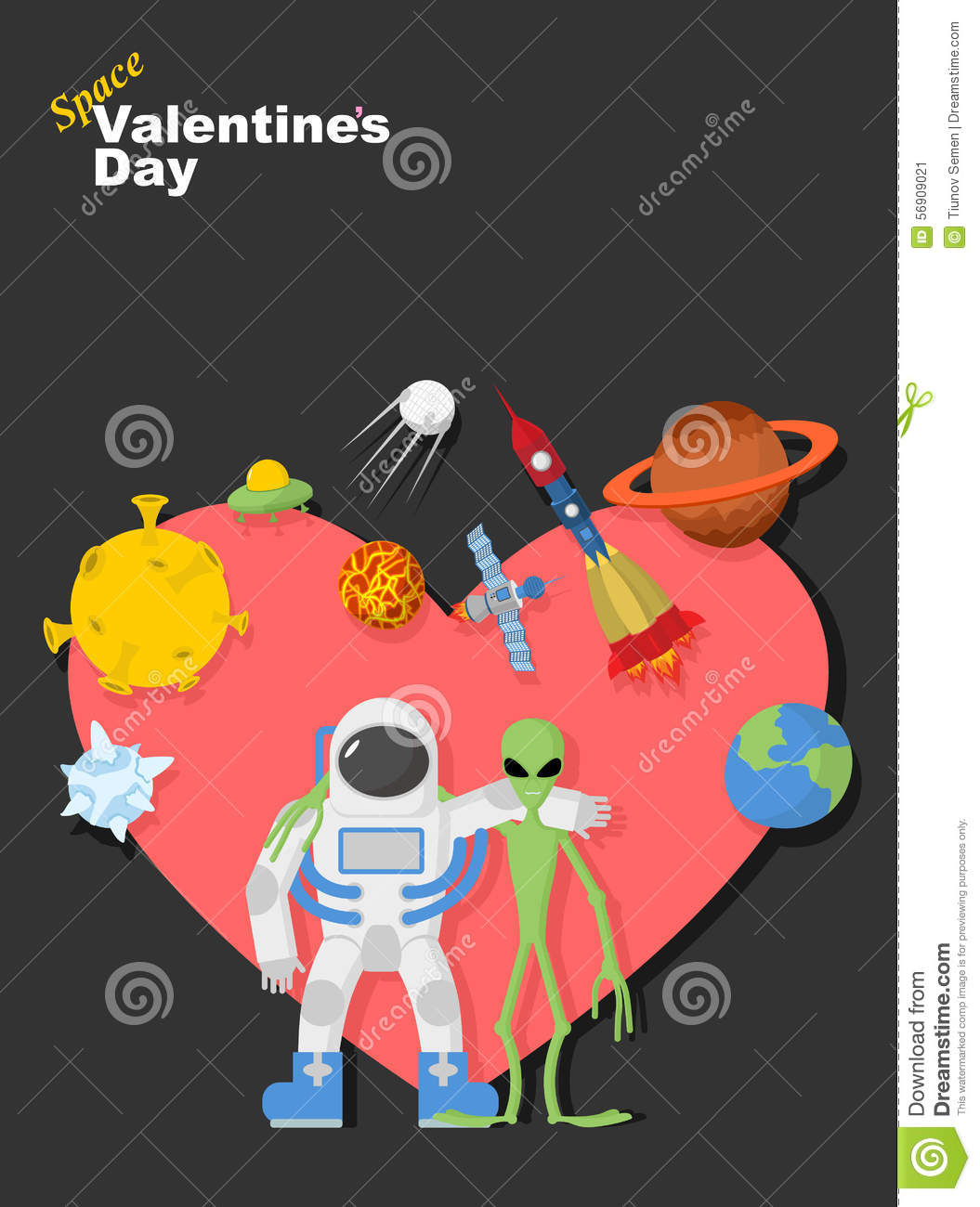 Astronaut And Alien Friends Valentines Day In Space Stock