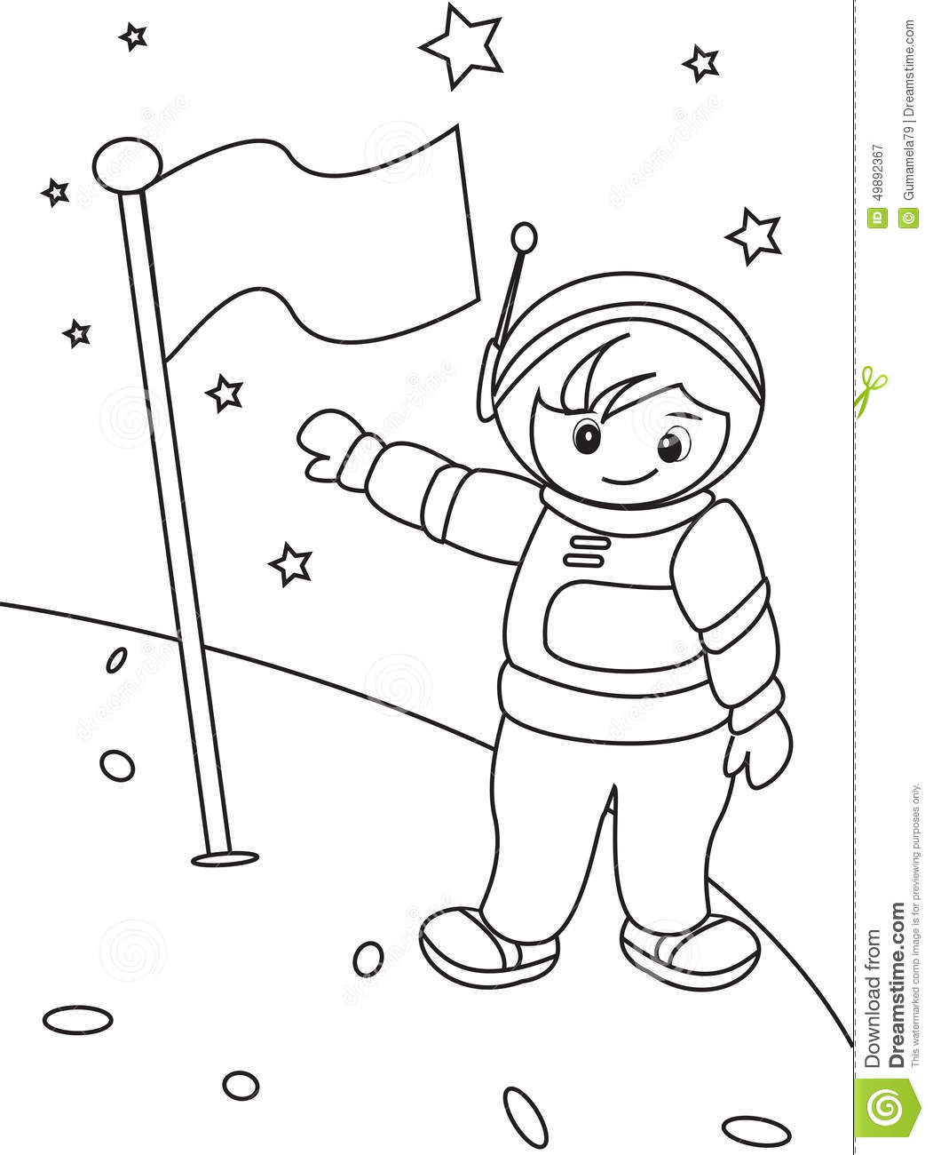 Astronaut Coloring Page Stock Illustration