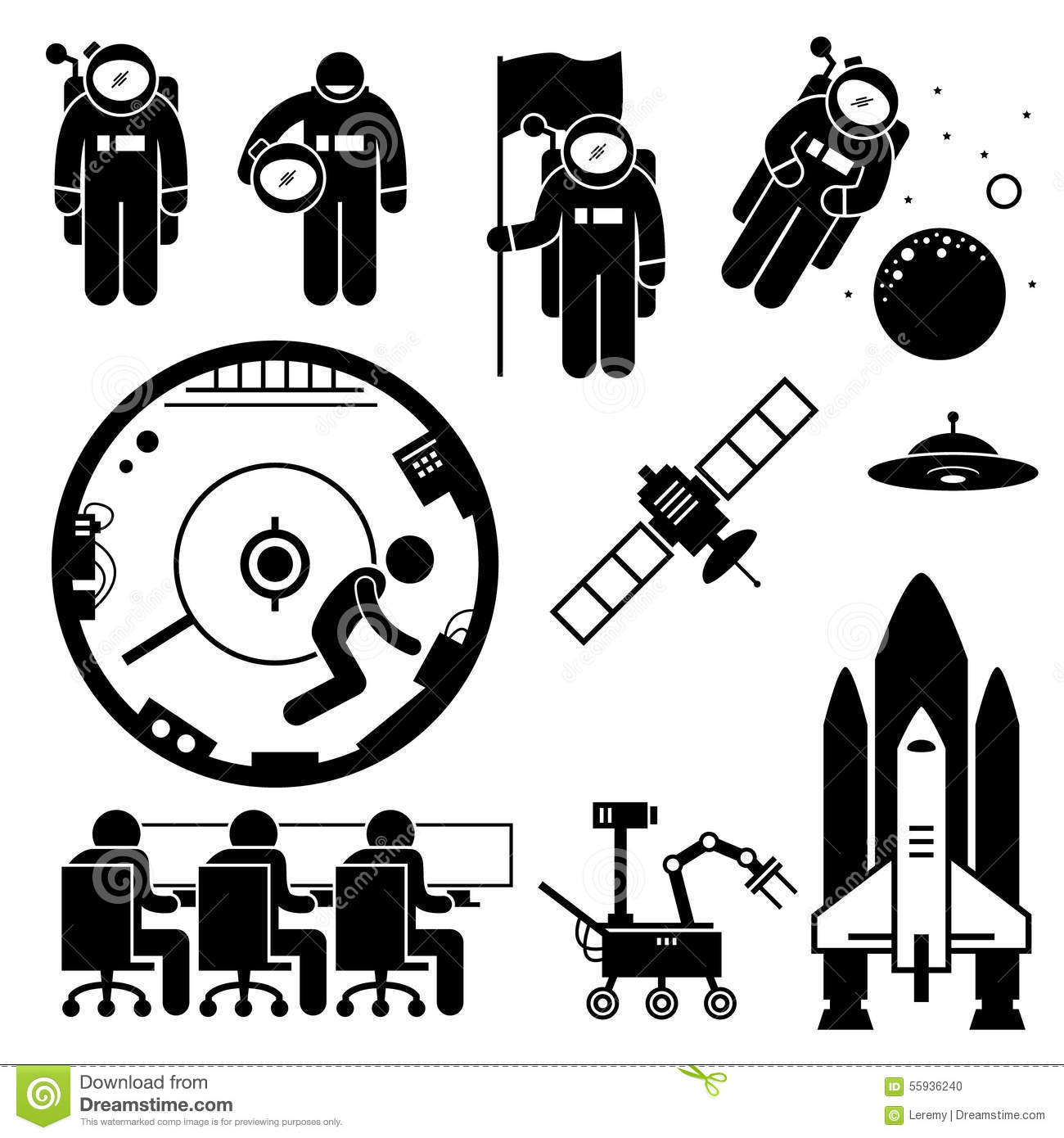 Astronaut Space Exploration Clipart Stock Vector