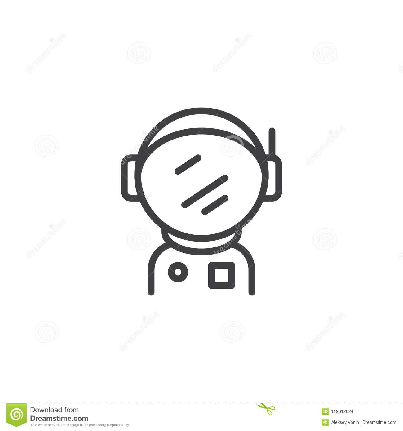 Astronaut Spacesuit With Helmet Outline Icon Stock Vector