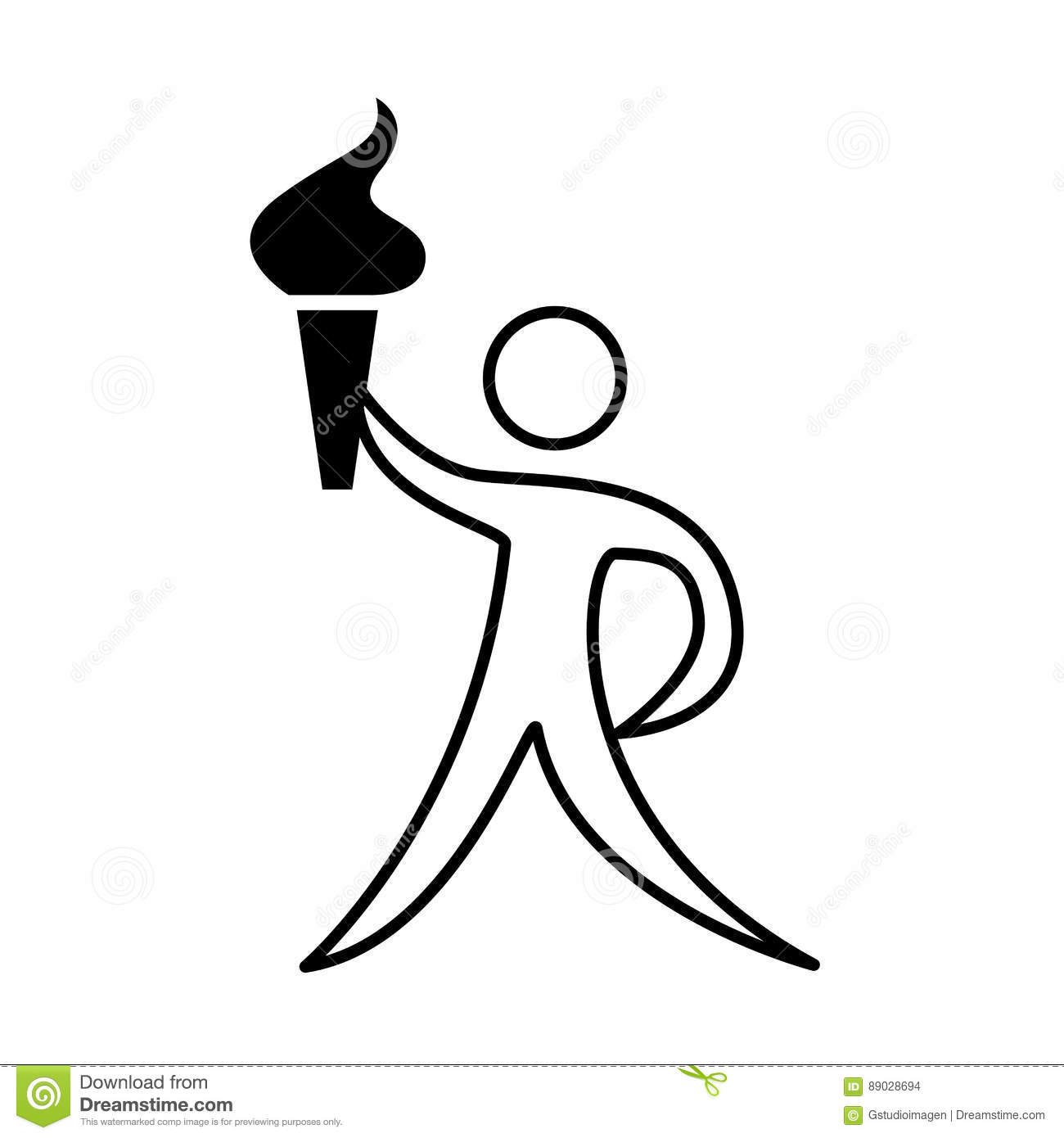 Athlete Silhouette With Torch Stock Vector