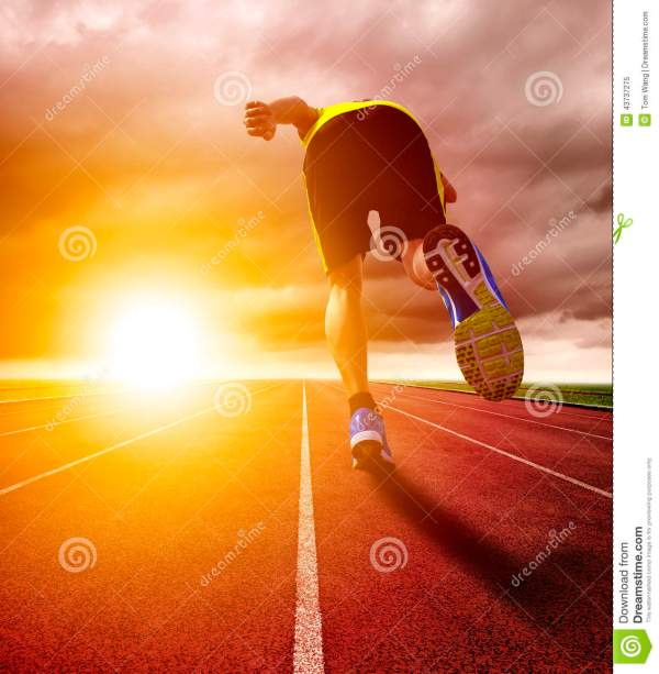 Athletic Young Man Running Race Track With Sunset