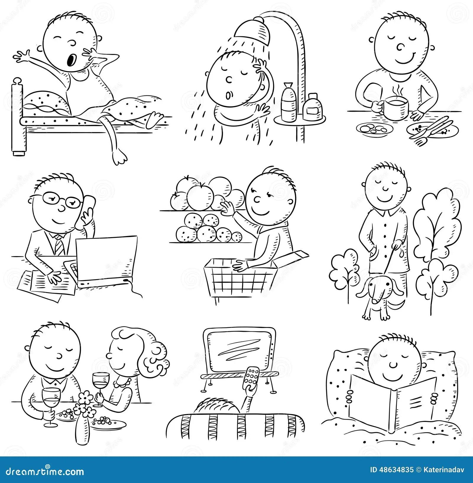 Atividades Diárias Do Homem Dos Desenhos Animados