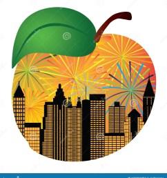 atlanta georgia city skyline night sky fireworks silhouette inside peach fruit outline vector illustration [ 1306 x 1300 Pixel ]